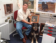 Steven nesbitt Dog Painter in his Studio
